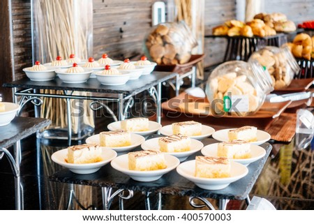Selective focus point Catering buffet in hotel restaurant - Vintage Light Filter