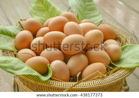 selective soft focus of and close up of eggs in the basket with leave and thatches
