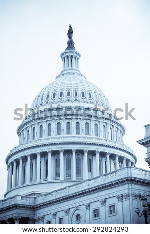 Selenium-toned image of dome of United States Capitol Building in Washington, D.C. Symbol of democracy.
