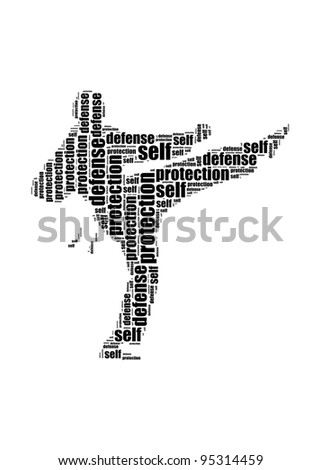 self defense and protection text kick graphic and arrangement concept