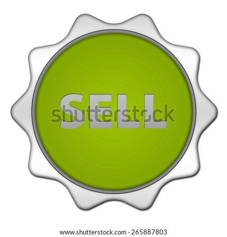 Sell circular icon on white background