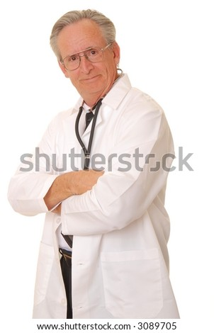 Senior doctor physician isolated on white with stethoscope