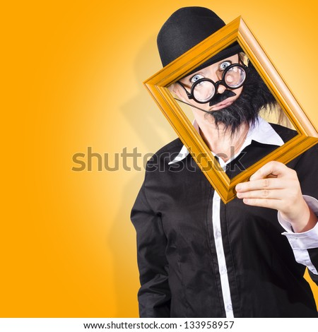 Senior man resizing and rotating a picture frame to set his profile picture when discovering social media
