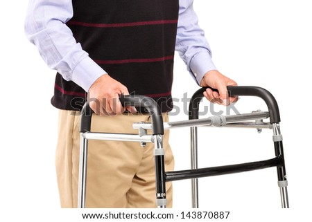 Senior man using a walker isolated on white background
