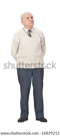 Senior man wearing a sweater standing-up against a white background.