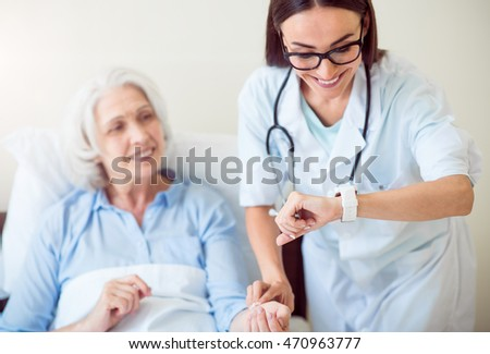 Senior patient being at hospital