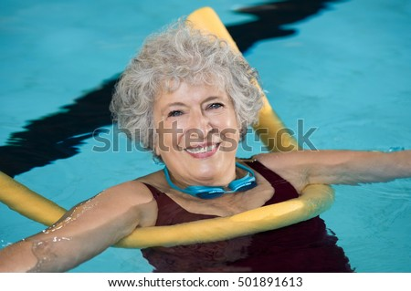 Mature women swimming position