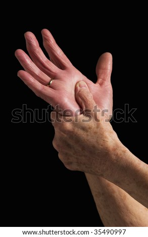 senior woman portrait of hands