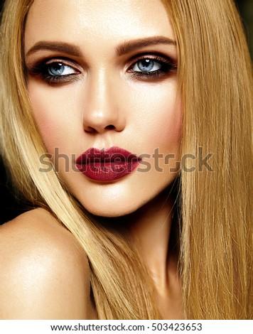 Beautiful Woman Evening Makeup Pink Lips Stock Photo