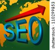 SEO Concept, Present With 3D Blue Glossy SEO and Red Glossy Arrow With World Map Background - stock photo