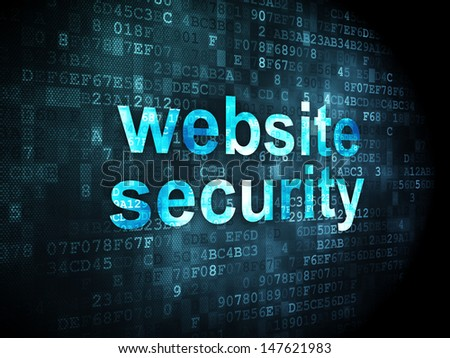 SEO web development concept: pixelated words Website Security on digital background, 3d render