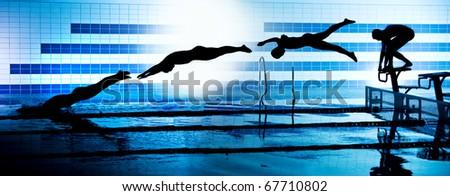Professional Swimmer Crawl Freestyle Isolated Black Stock