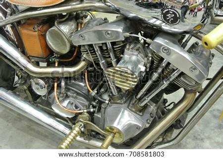 SERDANG MALAYSIA JULY 29 2017 Chopper Type Motorcycle Engine Miscellaneous Design