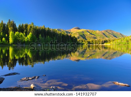 Serene lake in Utah with beautiful reflection of the mountain and trees.
