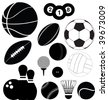 series of black illustrations of sports balls - stock vector