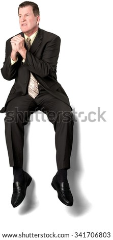 Serious Caucasian elderly man with short medium brown hair in business formal outfit begging - Isolated