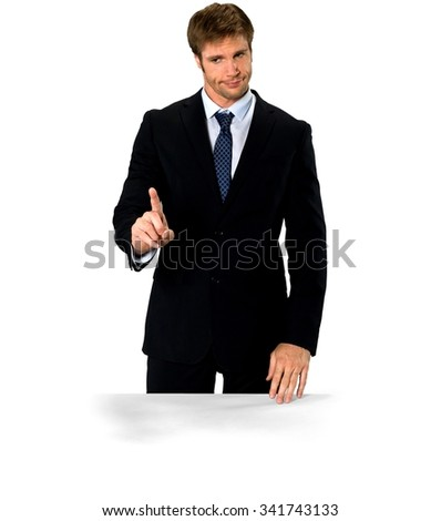 Serious Caucasian man with short medium blond hair in business formal outfit waving finger - Isolated