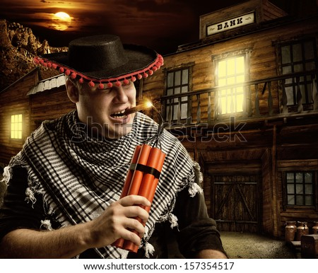 Serious cowboy mexican firing dynamite by cigar for bank robbery at night