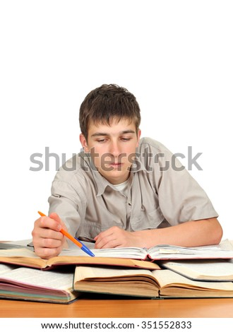 Serious Student on the School Desk Isolated on the White Background