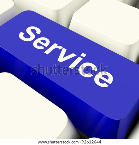 Service Computer Key In Blue For Help And Assistance