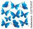 Set abstract blue butterflies with opened wings on white background - stock vector