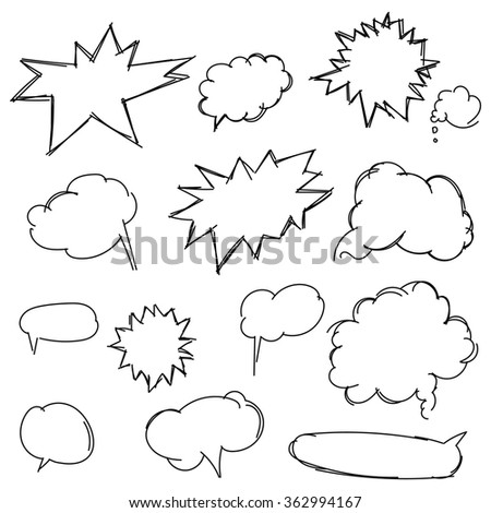 Set doodle shapes for message. Pencil sketches. Hand drawn scribble shapes and star. A set of doodle line drawings. Raster design elements