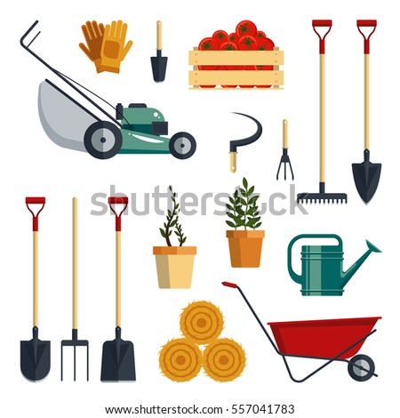 Gardening work tools flat icons set stock vector 414167689 for Gardening tools used in planting crossword clue