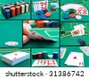 set from different photo of casino card game - stock photo