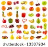 set from 49 various fruits, vegetables and berries - stock photo