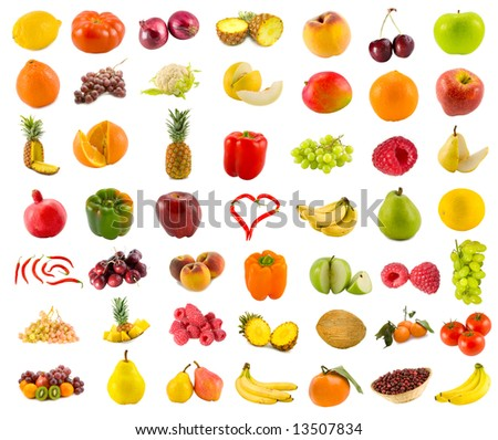 set from 49 various fruits, vegetables and berries