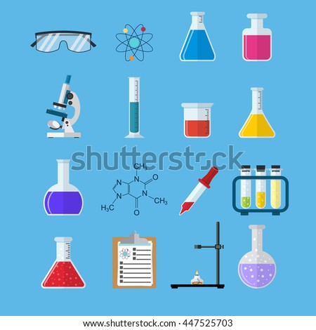 Set icon chemicals, Science, education, chemistry, experiment and laboratory concept. illustration in flat design Raster version