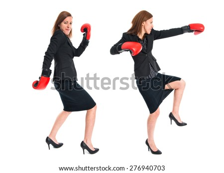 Set images of business woman with boxing gloves