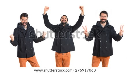 Set images of lucky man over white background