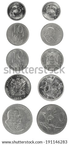 Set nickel coins  South Africa 5-50 cents