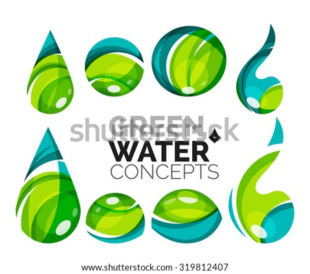 Set abstract eco water icons business stock illustration for Modern cleaning concept