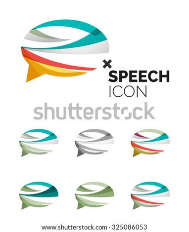 Set abstract speech bubble cloud icons stock vector for Modern cleaning concept