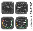 Set of aircraft instruments - airspeed indicators, Mach number indicator and accelerometer. - stock photo