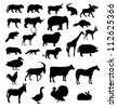Set of animals silhouette. Raster version. - stock photo