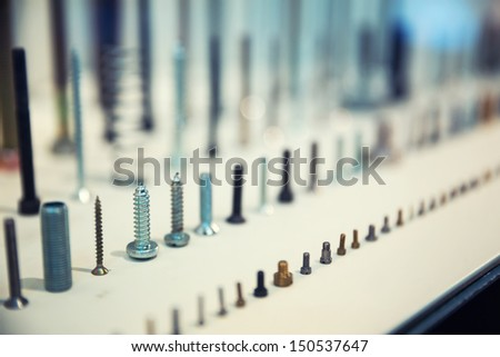 Set of assorted industrial screws