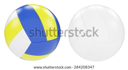 Set of balls for volleyball isolated on white background. 3d illustration High resolution