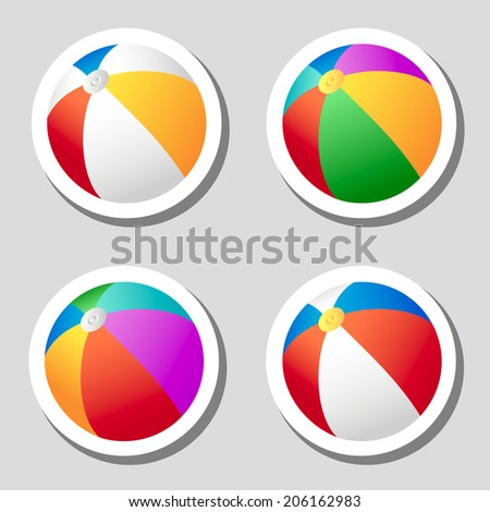 Set of beach ball stickers set, flat