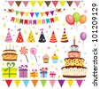 Set of birthday party elements. Raster version - stock photo