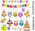 Set of birthday party elements with owls. Raster version - stock photo