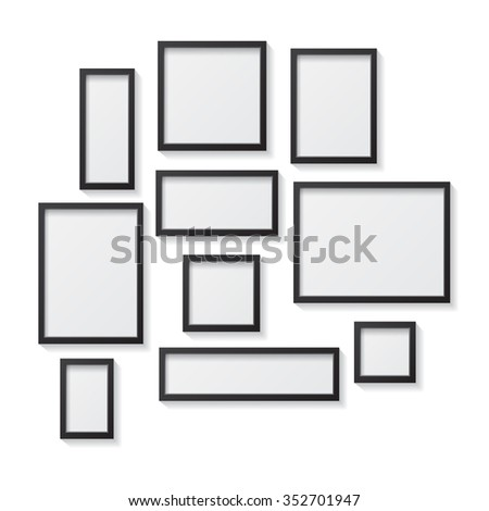 wall templates for hanging pictures - collection black frames stock vector 275196950 shutterstock