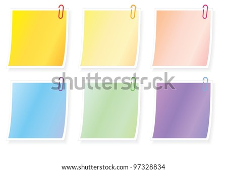 set of blank notes with paper clips vector illustration