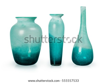 set of blue ceramic vases isolated on white background clipping path included