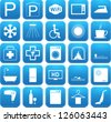 Set of Blue vector Hotel and B&B amenities icons - stock photo