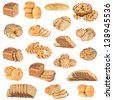 Set of bread and buns isolated on a white background. - stock photo