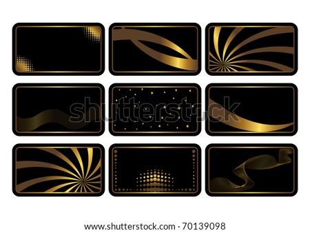 Set of cards, gold on the black. Business cards. Visiting cards. Invitations.