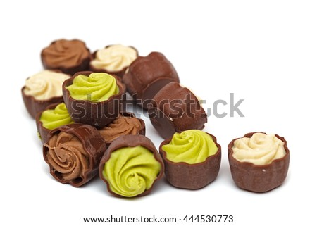 set of chocolates on a white background
